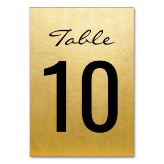 Tarjeta La tabla elegante del boda del oro numera