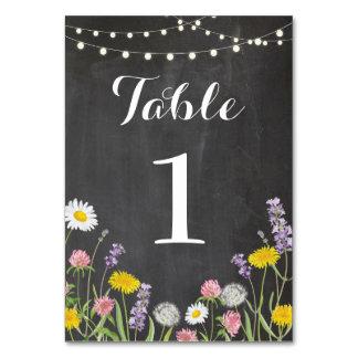 Tarjeta La tabla numera casar las flores salvajes tiza