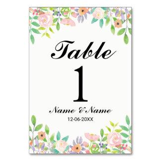 Tarjeta La tabla numera el Watercolour del boda elegante