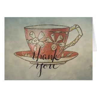 Tarjeta La taza de té roja le agradece caligrafía Notecard
