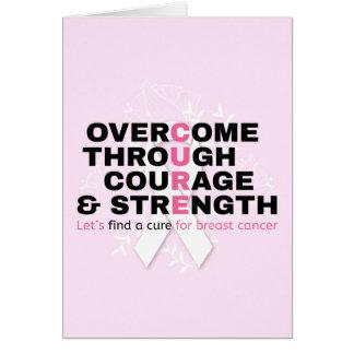 Tarjeta La tipografía del rosa de la cita del cáncer nos