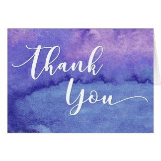 Tarjeta La tipografía púrpura de la acuarela le agradece