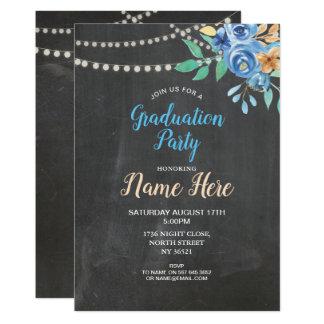 Tarjeta La tiza de la fiesta de graduación invita a la