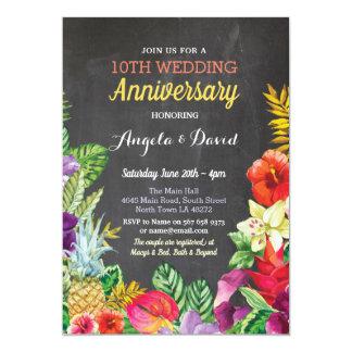 Tarjeta La tiza tropical del aniversario de boda de la