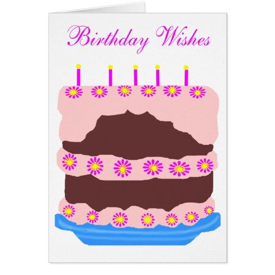 Tarjeta La torta de cumpleaños, cumpleaños desea la