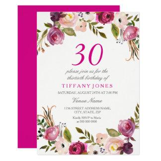 Tarjeta La trigésima fiesta de cumpleaños floral botánica