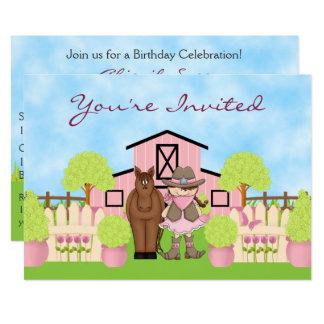 Tarjeta La vaquera linda, el caballo y el cumpleaños