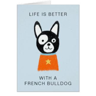 Tarjeta La vida es mejor con un dogo francés
