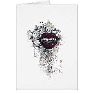 Tarjeta labios de Drácula del vintage