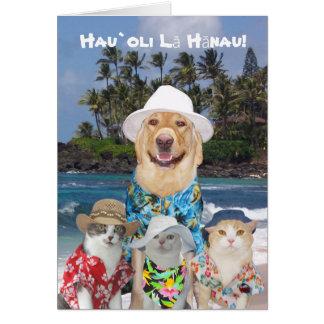 Tarjeta Laboratorio y gatitos amarillos hawaianos