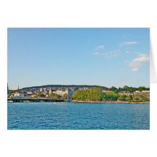 Tarjeta Lago Zurich, vista al puente de Bellewue