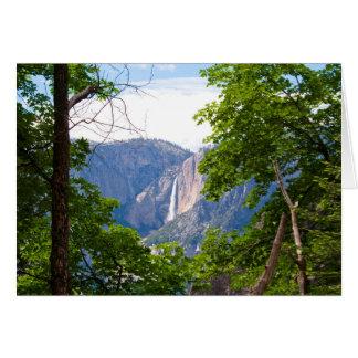 Tarjeta Las cataratas de Yosemite superiores con las hojas