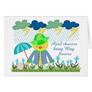 Tarjeta Las duchas lindas Bring de abril del pato pueden