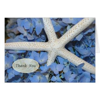 Tarjeta Las estrellas de mar y el boda azul del Hydrangea