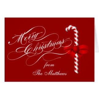 Tarjeta Las Felices Navidad doblaron el bastón de caramelo