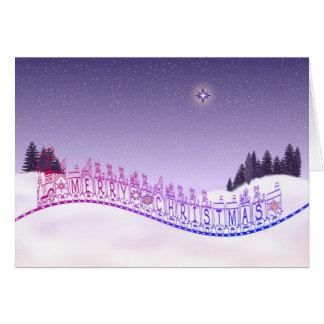 Tarjeta Las Felices Navidad juegan árboles y nieve de la