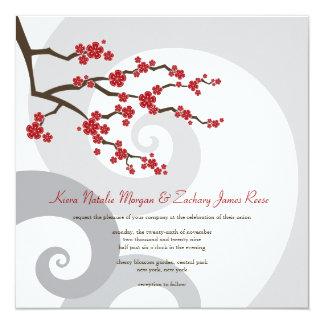 Tarjeta Las flores de cerezo que remolina Sakura boda