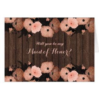 Tarjeta Las flores del rosa de color salmón sean mi criada