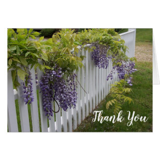 Tarjeta Las flores púrpuras de las glicinias le agradecen