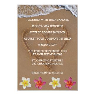 Tarjeta Las flores tropicales y el boda de playa del