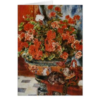 Tarjeta Las flores y los gatos de Renoir