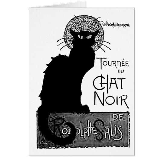 Tarjeta Las palabras francesas del gato negro de Halloween
