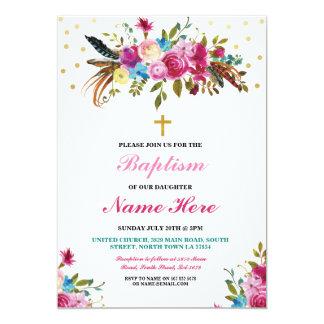 Tarjeta Las plumas florales del oro del bautizo del