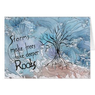 Tarjeta Las tormentas hacen que los árboles toman raíces