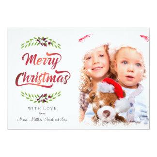 Tarjeta Laureles ID293 rojo de las Felices Navidad