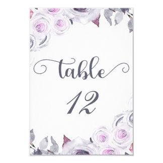 Tarjeta Lavanda y asiento floral gris del número de la