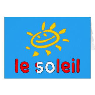 Tarjeta Le Soleil The Sun en vacaciones de verano