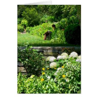 Tarjeta Lectura en el jardín