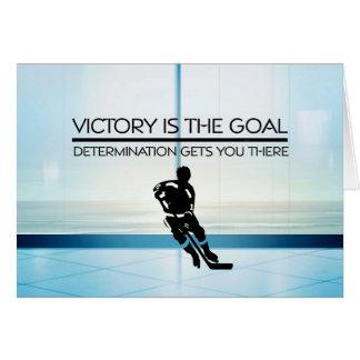 Tarjeta Lema SUPERIOR de la victoria del hockey