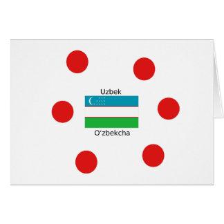 Tarjeta Lengua del Uzbek y diseño de la bandera de