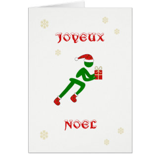 Tarjeta Lengua francesa del corredor del navidad de Joyeux