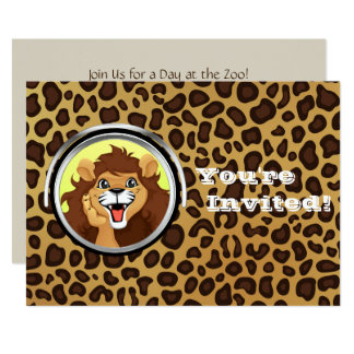 Tarjeta Leopardo del león del safari de selva de la fiesta