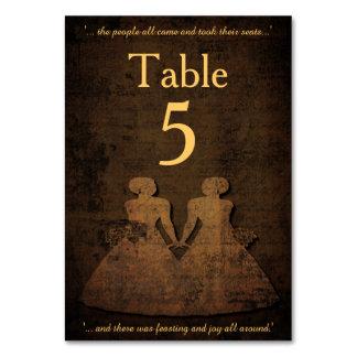 Tarjeta lesbiana de la tabla del boda del amor