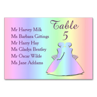 Tarjeta lesbiana de la tabla del boda del arco