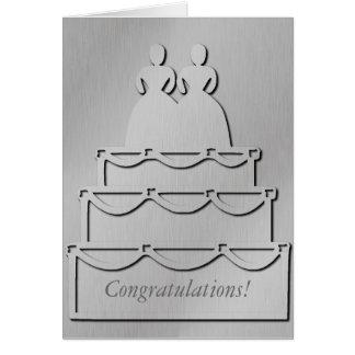 Tarjeta lesbiana de plata del pastel de bodas