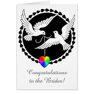 Tarjeta lesbiana del corazón del orgullo del boda