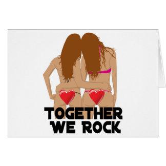 Tarjeta Lesbiana juntos que oscilamos