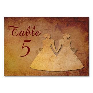 Tarjeta lesbiana rústica roja de la tabla del boda