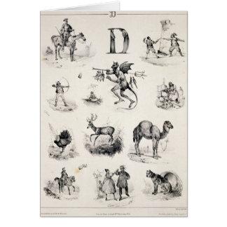 Tarjeta Letra D de una cartilla del alfabeto, 1832