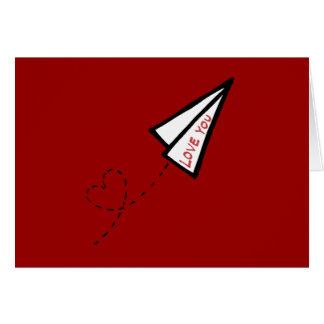 Tarjeta Letra de amor del aeroplano de papel