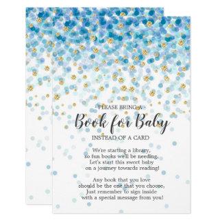 Tarjeta Libro azul de la fiesta de bienvenida al bebé del