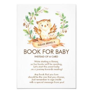 Tarjeta Libro de la fiesta de bienvenida al bebé del búho