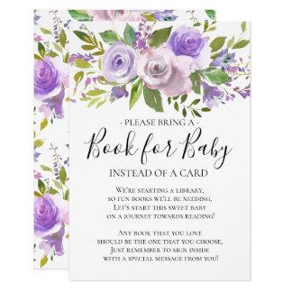 Tarjeta Libro floral de la fiesta de bienvenida al bebé de