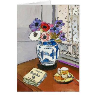 Tarjeta Libro y flores del Gumbo