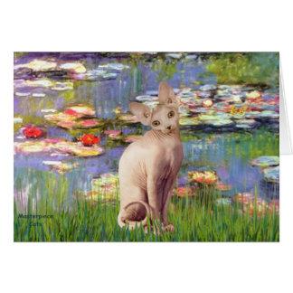 Tarjeta Lillies 2 - Gato poner crema de Sphynx