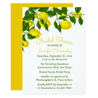 Tarjeta Limón nupcial amarillo de la ducha y acuarela